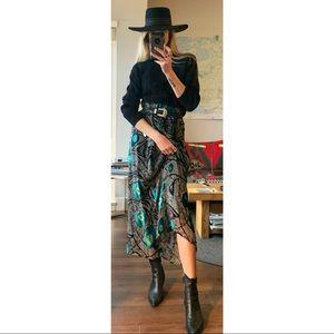 Handmade Flowy Velvet Paisley Maxi Silk Skirt
